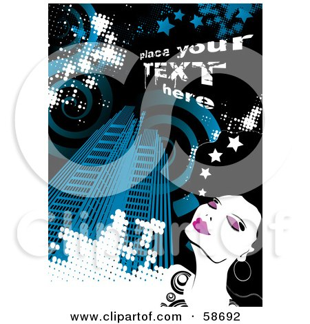 Royalty-Free (RF) Clipart Illustration of a Fashionable Woman In A Big Blue City, With Sample Text by MilsiArt
