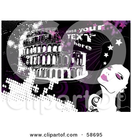 Royalty-Free (RF) Clipart Illustration of a Fashionable Woman In Rome, With Sample Text And Pink Grunge by MilsiArt