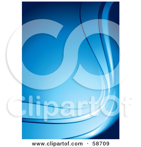 Royalty-Free (RF) Clipart Illustration of a Blue Vertical Background With Curving Waves by MilsiArt