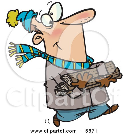 Caucasian Man in Winter Clothing Carrying Firewood For His Fireplace Clipart Illustration by toonaday