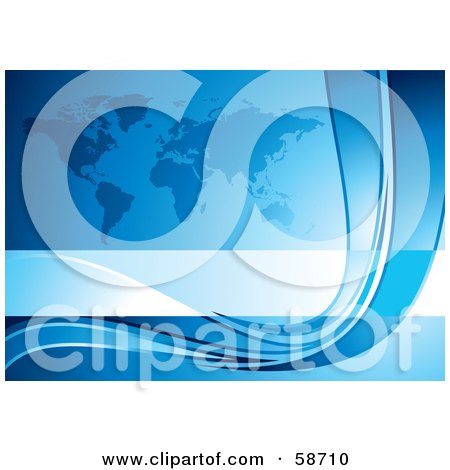 Royalty-Free (RF) Clipart Illustration of a Blue Atlas And Curve Background by MilsiArt