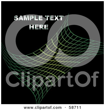 Royalty-Free (RF) Clipart Illustration of a Green Net Grid On Black Background, With Sample Text by MilsiArt
