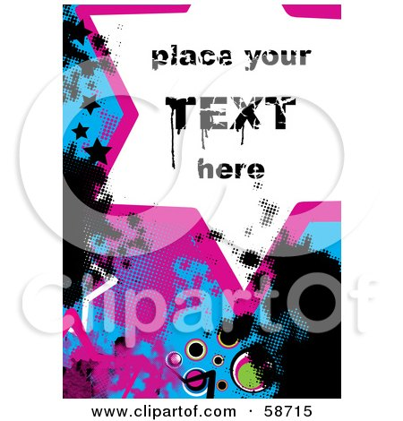Royalty-Free (RF) Clipart Illustration of a Splattered Star Grunge Background With Sample Text by MilsiArt