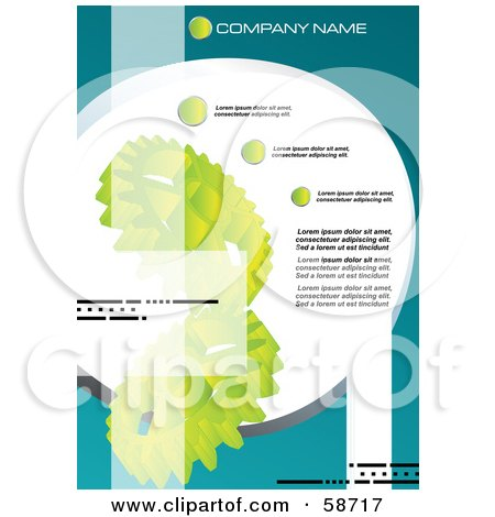 Royalty-Free (RF) Clipart Illustration of a Green Gear Background Template With Sample Text by MilsiArt