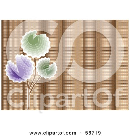 Royalty-Free (RF) Clipart Illustration of a Background Of Purple And Green Flowers Over Brown Plaid by MilsiArt