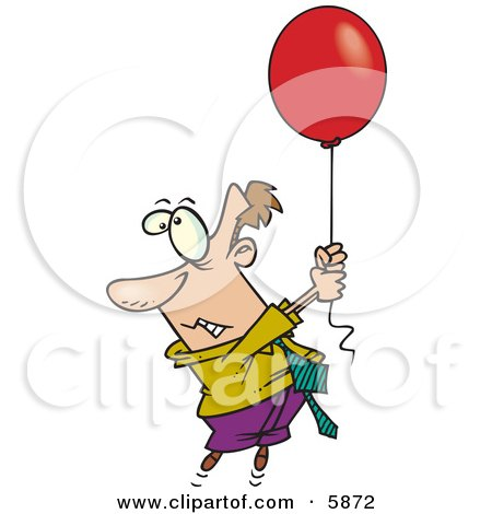Business Man Getting Carried Away by a Red Balloon Clipart Illustration by toonaday