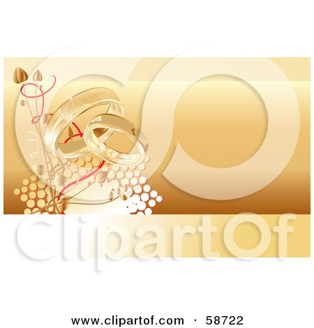 Royalty-Free (RF) Clipart Illustration of an Orange Bridal Background Of Wedding Rings, Flowers And Halftone by MilsiArt