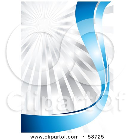 Royalty-Free (RF) Clipart Illustration of a Bursting Chrome Background With Shiny Blue Curves by MilsiArt