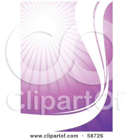 Royalty-Free (RF) Clipart Illustration of a Bursting Purple Background With White Waves by MilsiArt