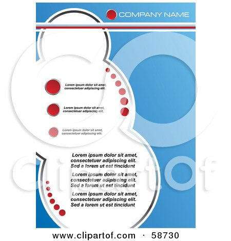 Royalty-Free (RF) Clipart Illustration of a Blue Template With Red Circles And White Bubbles For Copyspace by MilsiArt
