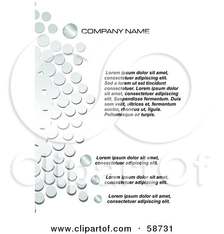 Royalty-Free (RF) Clipart Illustration of a White Template Bordered With Chrome Circles, With Sample Text by MilsiArt