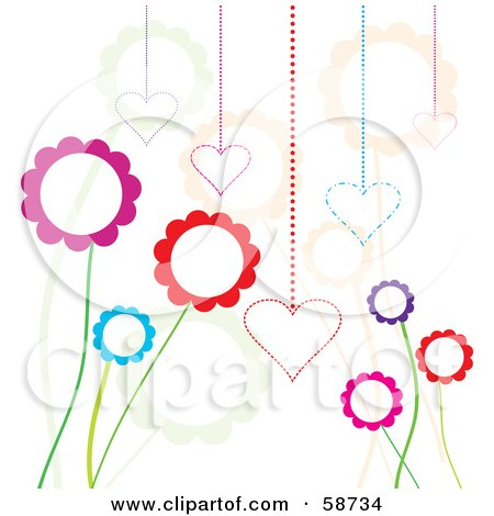 Royalty-Free (RF) Clipart Illustration of a Background Of Funky Flowers And Hearts On White by MilsiArt