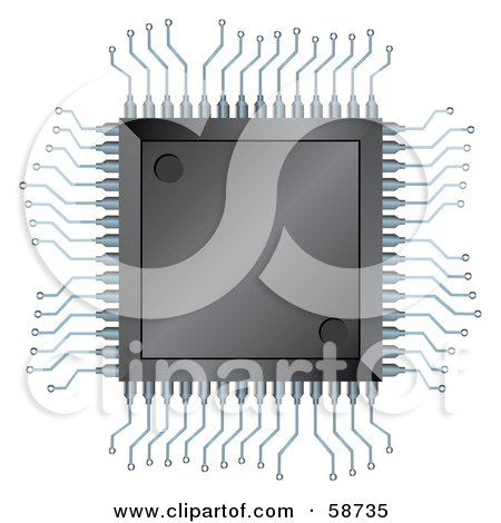 Royalty-Free (RF) Clipart Illustration of an Electronic Semiconductor Integrated Component by MilsiArt