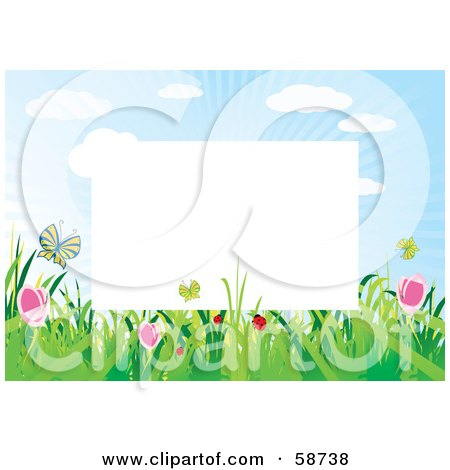 Royalty-Free (RF) Clipart Illustration of a White Frame Bordered With Summer Flowers And Butterflies by MilsiArt