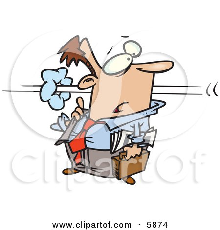 Business Man Confused as a Co-Worker Speeds by in a Blur Clipart Illustration by toonaday