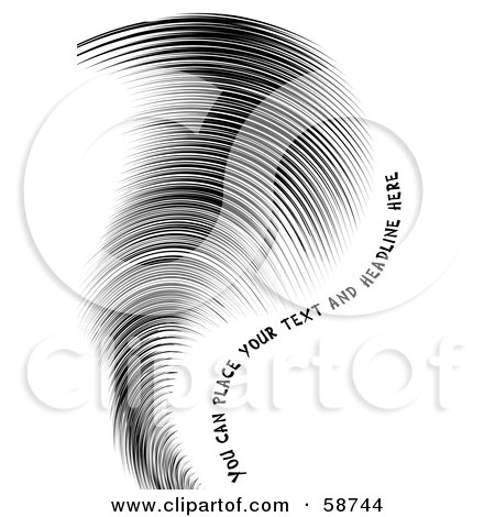 Royalty-Free (RF) Clipart Illustration of a Curvy Black Swoosh Of Lines And Sample Text On White by MilsiArt