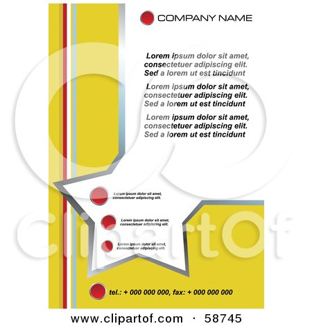 Royalty-Free (RF) Clipart Illustration of a Yellow Star Template With Sample Text by MilsiArt