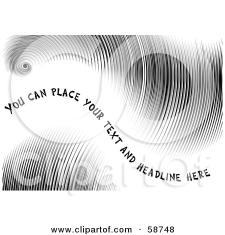 Royalty-Free (RF) Clipart Illustration of a Black Wavy Background Of Fine Lines With Sample Text by MilsiArt