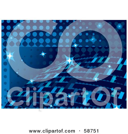 Royalty-Free (RF) Clipart Illustration of a Funky Blue Disco Sphere Ball Background With Sparkles by MilsiArt
