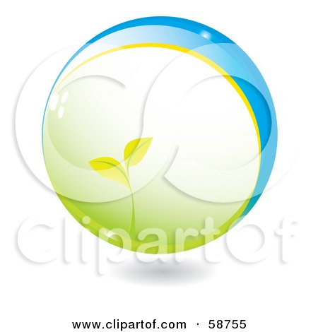 Royalty-Free (RF) Clipart Illustration of a Seedling Plant Growing In A Green And Blue Sphere by MilsiArt