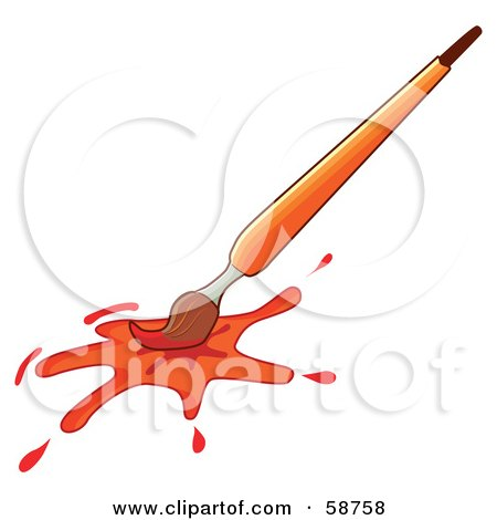 Royalty-Free (RF) Clipart Illustration of an Orange Paintbrush With A Splatter by MilsiArt