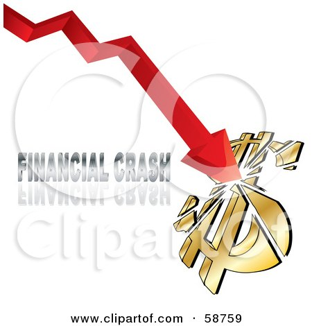 Royalty-Free (RF) Clipart Illustration of a Red Arrow Breaking A Dollar Symbol With Financial Crash Text by MilsiArt