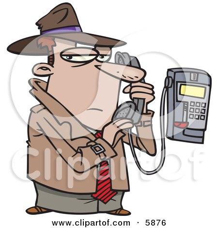 Undercover Private Eye Detective Talking Secretively on a Telephone Clipart Illustration by toonaday