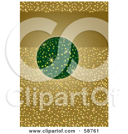 Royalty-Free (RF) Clipart Illustration of a Green Disco Ball With A Gold Tile Glitter Background And A Text Bar by MilsiArt