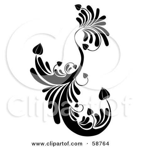 Royalty-Free (RF) Clipart Illustration of a Black Floral Element With Heart Shaped Leaves by MilsiArt