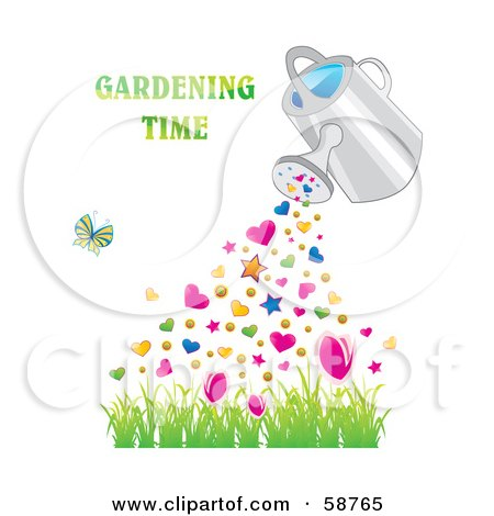 Royalty-Free (RF) Clipart Illustration of a Watering Can Pouring Hearts And Stars Over Grass, With A Butterfly And Gardening Time Text by MilsiArt