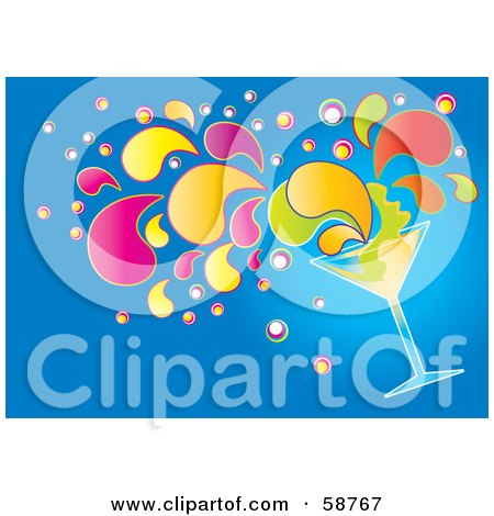 Royalty-Free (RF) Clipart Illustration of a Tipping Cocktail Beverage With Colorful Splashes On Blue by MilsiArt