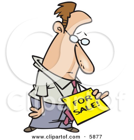 Depressed Business Man Wearing a For Sale Sign Around His Neck Clipart Illustration by toonaday