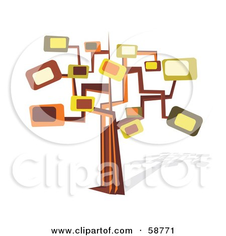Royalty-Free (RF) Clipart Illustration of a Retro Styled Tree With Rectangle Branches by MilsiArt