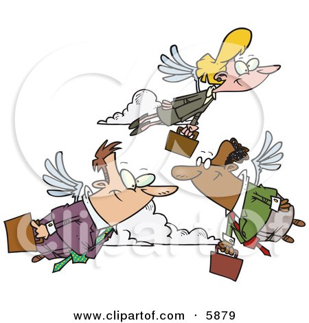 Business People Carrying Briefcases, Flying With Wings on Their Way to Work, Transportation of the Future Posters, Art Prints
