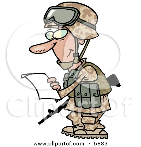 Marine Soldier Man in a Camouflage Uniform and Helmet, Reading a Letter Clipart Illustration by toonaday