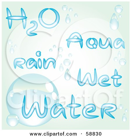 Royalty-Free (RF) Clipart Illustration of a Digital Collage Of Water Words In Blue, With Droplets by kaycee