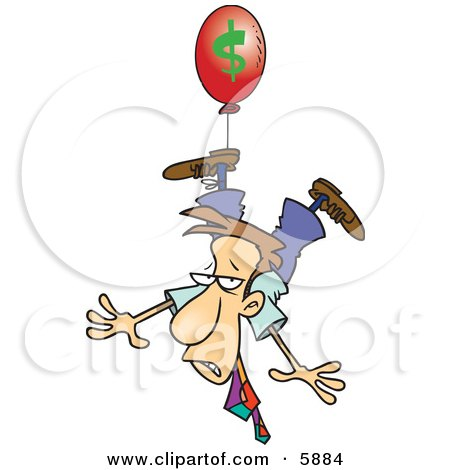 Business Man Being Carried Away by a Red Inflation Balloon Posters, Art Prints