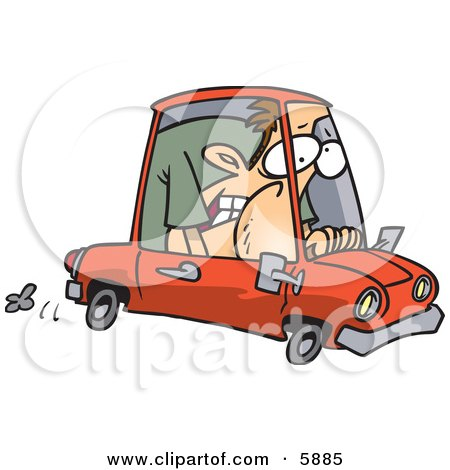 Caucasian Man Squished into a Tiny Compact Mini Car Posters, Art Prints