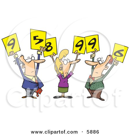 Men and Woman Judges Holding Up Number Signs Clipart Illustration by toonaday