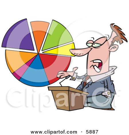 Male Business Man Standing at a Podium, Discussing a Pie Chart Clipart Illustration by toonaday