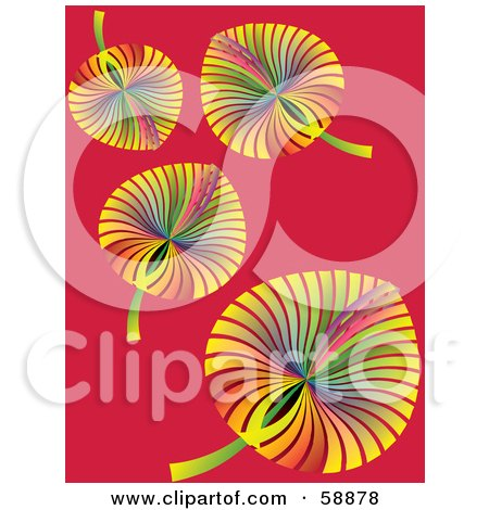 Royalty-Free (RF) Clipart Illustration of Rainbow Colored Autumn Leaves Falling Down Over Red by kaycee