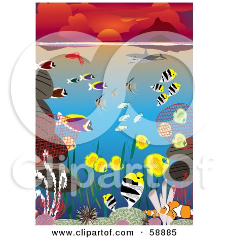 Royalty-Free (RF) Clipart Illustration of Colorful Marine Fish, Corals And Sharks Swimming In The Ocean Under A Red Sunset by kaycee