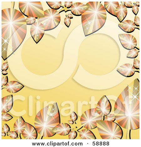 Royalty-Free (RF) Clipart Illustration of a Gradient Orange Border Framed In Sparkling Autumn Leaves by kaycee