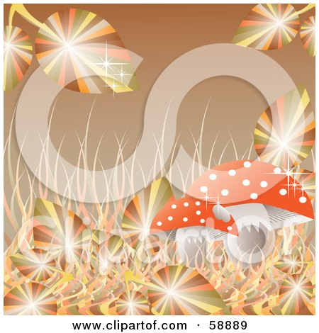 Royalty-Free (RF) Clipart Illustration of Sparkling Autumn Leaves And Grasses Around A Mushroom On Brown by kaycee