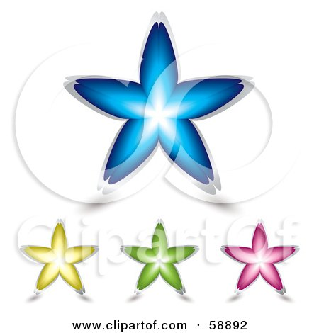 Royalty-Free (RF) Clipart Illustration of a Digital Collage Of Four Colorful Floral Stars - Version 1 by michaeltravers