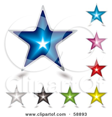Royalty-Free (RF) Clipart Illustration of a Digital Collage Of Nine Colorful Shining Star Icons by michaeltravers