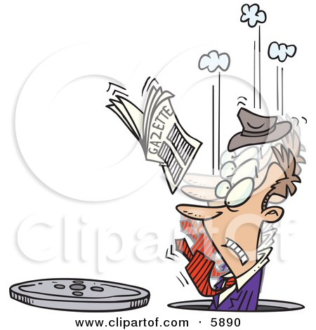 Man In A Manhole His Newspaper In The Air Clipart Illustration