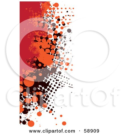 Royalty-Free (RF) Clipart Illustration of a Vertical Background Of Red, Orange And Black Grunge Splatters Against White by michaeltravers