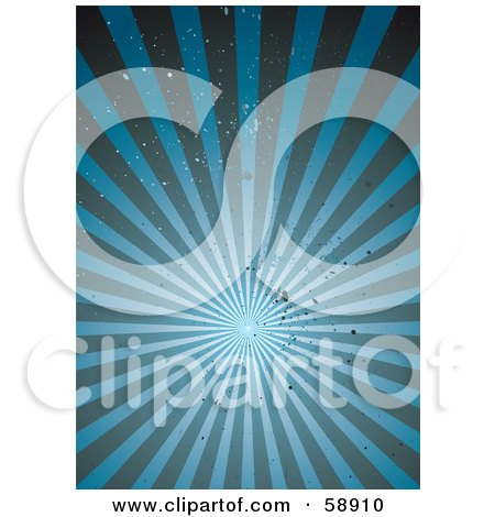 Royalty-Free (RF) Clipart Illustration of a Background Of A Blue Grunge Burst Of Light Rays - Version 1 by michaeltravers