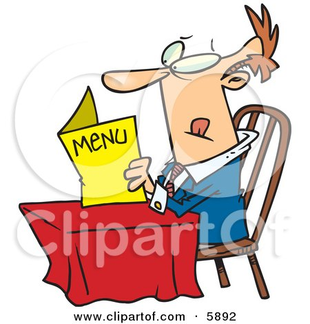 Caucasian Man Sitting at a Table and Reading a Menu at a Restaurant Posters, Art Prints